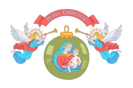 Buon Natale. Cartolina di vettore, illustrazione. Angeli che trombano. Isolato su sfondo bianco. Palla di decorazione natalizia con l'immagine della Vergine Maria Madonna con il bambino Gesù.