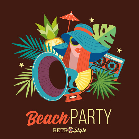 Beach retro party. Illustration in retro style. Beautiful girl with red hair in a blue hat and sunglasses on the background of palm trees.  Near girls of the gramophone and the cassette.  Retro music accessories.