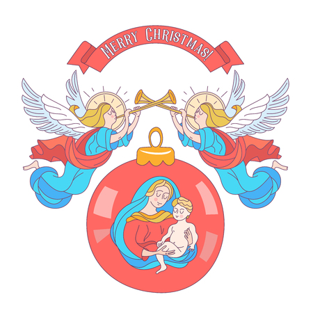 Merry Christmas. Christmas decoration ball with the image of the virgin Mary and the baby Jesus. Angels trumpeting. Vector illustration on white background. 일러스트