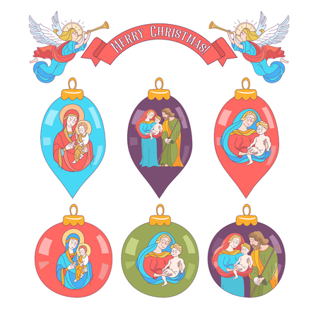 Set of Christmas tree balls. Christmas decorations depicting a Holy family Vector illustration on white background.