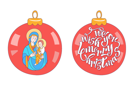 Merry Christmas. Christmas decoration ball with the image of the virgin Mary and the baby Jesus. Vector illustration on white background. Stock Illustratie