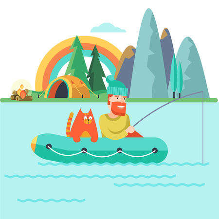 Camping. Summer outdoor recreation in the tent.  Fisherman with a cat in a rubber boat.  A tent camp and a fire. Vector illustration, emblem.