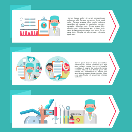 Dentistry. Dental care. Vector illustration in flat style. Set of banners with sets of design elements on the theme of dentistry. Doctors, patients, tools. Illustration