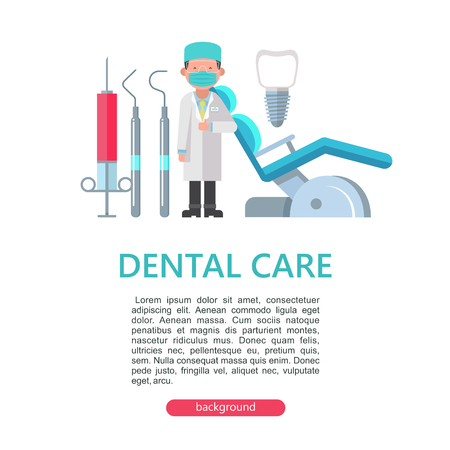 The dentist is standing near the dental chair. Set of dental instruments. Vector illustration with space for text.
