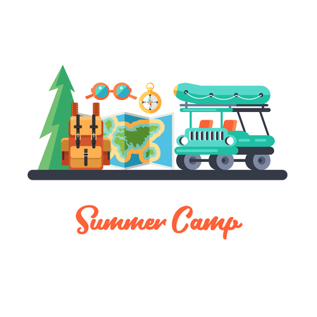Camping. Summer outdoor recreation.  Car, backpack, terrain map, compass and glasses. Vector illustration.
