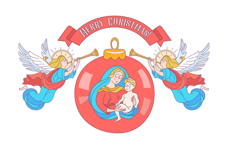 Merry Christmas. Christmas decoration ball with the image of the virgin Mary and the baby Jesus. Angels trumpeting. Vector illustration on white background. Stock Illustratie