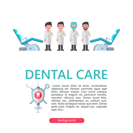 Four fun dentist doctor and dental chairs.  Illustration with space for text. Dentistry. Dental care. Vector illustration in flat style. Illusztráció