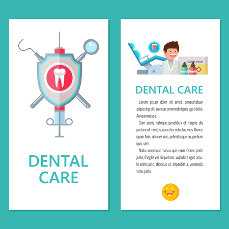 Dentistry. Dental care. Vector illustration in flat style. Promotional dental flyer with space for text. Dentist, dental chair, instruments. Logo of dentistry. Archivio Fotografico - 111793021