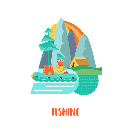 Camping. Summer outdoor recreation in the tent.  Fisherman with a cat in a rubber boat.  Tent camp. Vector illustration, emblem.