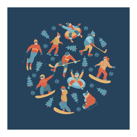 Winter sports and fun activities in the snow. People skiing, skating, sledding, snowboarding. A set of characters oriented in a circle. Vector illustration. Illustration