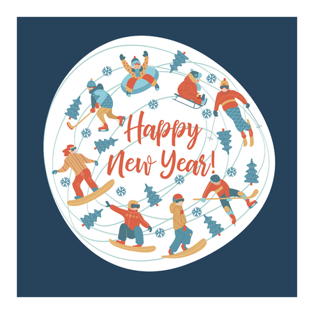 happy New Year. Winter sports and fun activities in the snow. People skiing, skating, sledding, snowboarding. A set of characters oriented in a circle. Vector illustration.