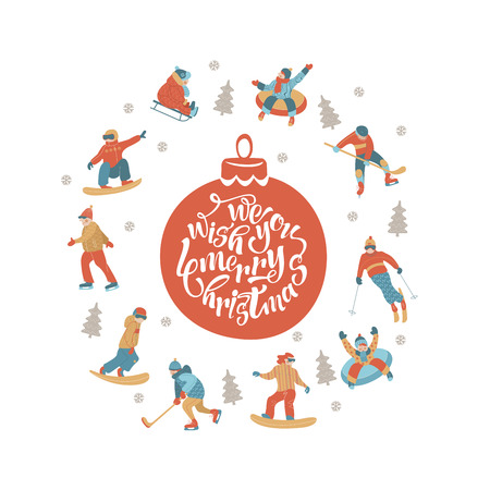 We wish you a happy new year. Winter sports and entertainment in the snow. People skiing, skating, sledding, snowboarding. A set of symbols around a red Christmas ball with a congratulatory inscription. Illustration