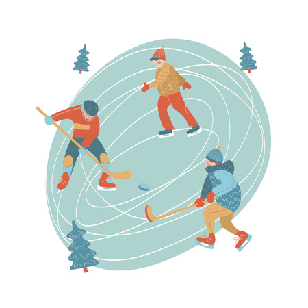 Winter, an ice skating rink. The guys play hockey, a man skating. Vector illustration.
