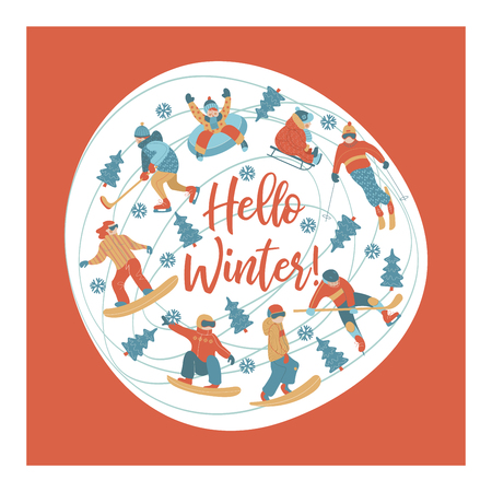 Hello winter. Winter sports and fun activities in the snow. People skiing, skating, sledding, snowboarding. A set of characters oriented in a circle. Vector illustration. Illustration