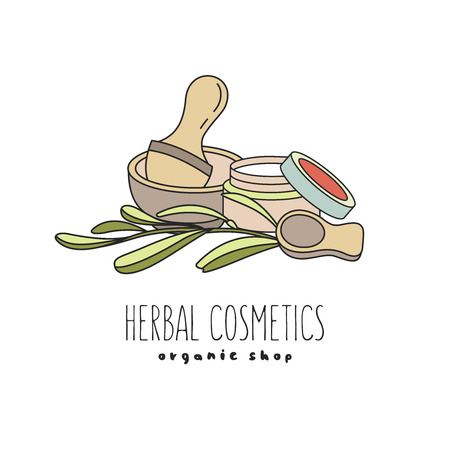 Herbal cosmetics, natural oil. Vector hand drawn illustration for natural eco cosmetics store. Eucalyptus oil.