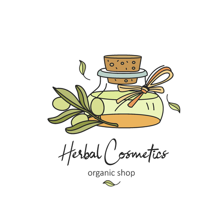 Herbal cosmetics, natural oil. Vector hand drawn illustration for natural eco cosmetics store. Olive oil and twig. 向量圖像