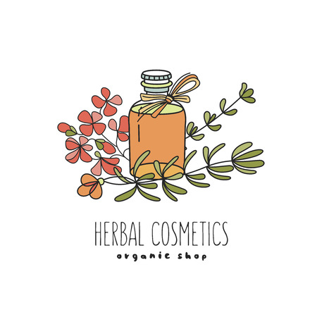 Herbal cosmetics, natural oil. Vector hand drawn illustration for natural eco cosmetics store. Oil and flowers of geranium and rosemary. Фото со стока - 111793040