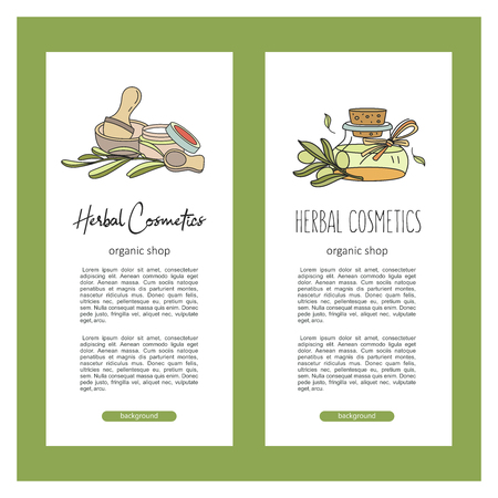 Herbal cosmetics, natural oil. Vector hand drawn illustration for natural eco cosmetics store. Natural olive and eucalyptus oils.