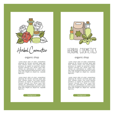 Herbal cosmetics, natural oil. Vector hand drawn illustration for natural eco cosmetics store. Rose and olive oils.