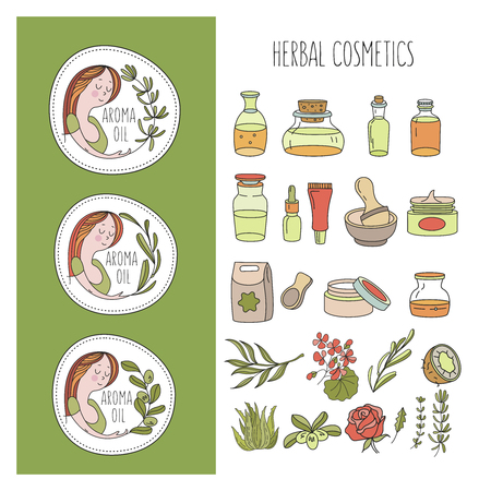 Herbal cosmetics, natural oil. Vector hand drawn illustration for natural eco cosmetics store. A large set of jars with natural oils. Three emblems with a girl and a sprig of olive, rosemary and eucalyptus.