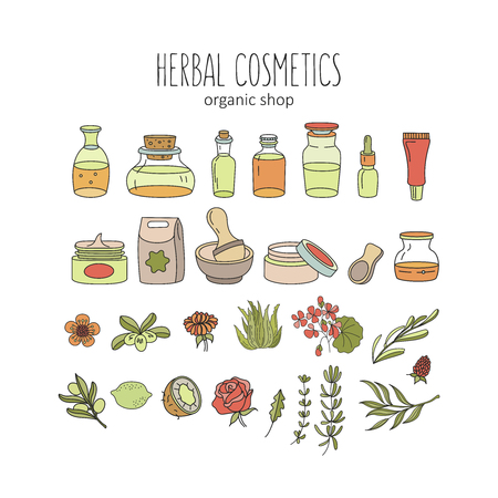 Herbal cosmetics, natural oil. Vector hand drawn illustration for natural eco cosmetics store. A large set of jars with natural oils and ingredients. Plants and flowers.