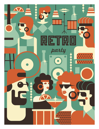 Retro party poster. Vector illustration in retro style. People dressed in the fashion of 60-70 years. Men and women in the bar with drinks. Musical instruments, vinyl discs. Illusztráció