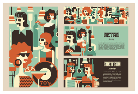 Retro party poster. Vector illustration in retro style. People dressed in the fashion of 60-70 years. Men and women in the bar with drinks. Musical instruments, vinyl discs. Illustration
