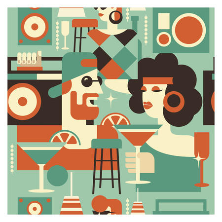 Seamless pattern. Retro party poster. Vector illustration in retro style. People dressed in the fashion of 60-70 years. Men and women in the bar with drinks. Musical instruments, vinyl discs. Illusztráció