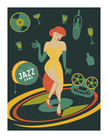 Poster music festival, retro party in the style of the 70s, 80s. Vector illustration. Beautiful girl dancing. Stock Illustratie