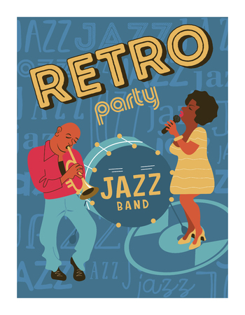 Poster music festival, retro party in the style of the 70's, 80's. Jazz party. Afro musician plays the trumpet. Afro woman singing. Vector illustration.