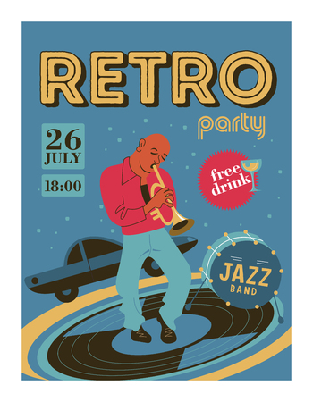 Poster music festival, retro party in the style of the 70's, 80's. The musician plays the trumpet. Jazz music. Vector illustration.