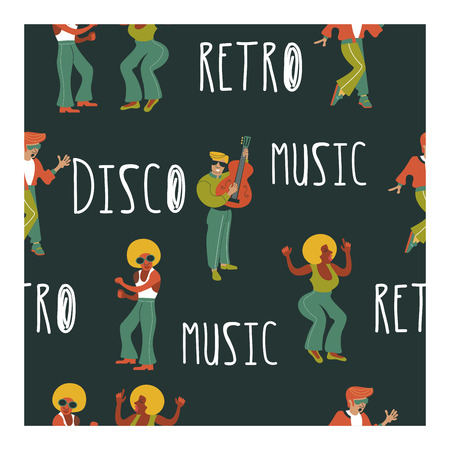 Seamless pattern. Retro party. Retro musicians, dancers and singers. Disco, rock and roll, musicians. Vector illustration. Illustration