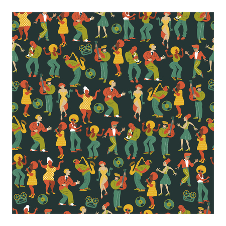 Seamless pattern. Retro party. People dance rock and roll. Musicians play saxophone and trumpet. Jazz singer. A large set of characters in the style of 70-80 years.