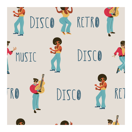Seamless pattern. Retro party. Retro musicians, dancers and singers. Disco, rock and roll, musicians. Vector illustration. Ilustracje wektorowe