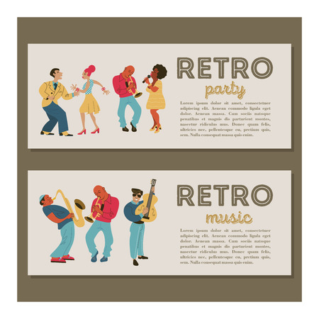 Retro party. Jazz musicians playing trumpet, guitar and saxophone. Dancing girl and man. Jazz singer. Set of characters in the style of 70-80 years. Vector illustration. Illustration