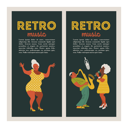Poster of the festival of jazz music. Musician saxophonist and jazz singer. Woman dancing. Set of characters in the style of 70-80 years. Vector illustration.