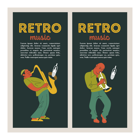 Retro party. Jazz musicians playing the trumpet and saxophone. Set of characters in the style of 70-80 years. Vector illustration.