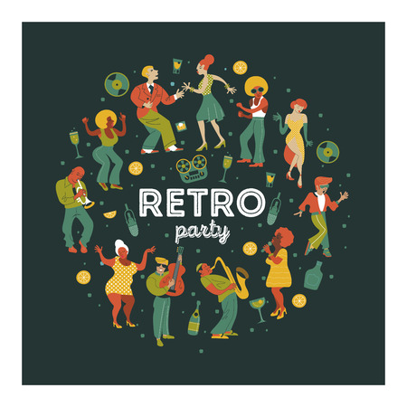 Retro party. People dance rock and roll. Musicians play saxophone and trumpet. Jazz singer. A large set of characters in the style of 70-80 years. Vector illustration, poster. Illustration
