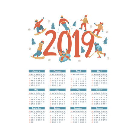 Calendar 2019. Vector illustration. A set of characters engaged in winter sports and recreation. People skate, snowboard, ski. Play ice hockey. Children sledding and snow tubing. Vecteurs