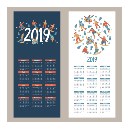 Calendar 2019. Vector illustration. A set of characters engaged in winter sports and recreation. People skate, snowboard, ski. Play ice hockey. Children sledding and snow tubing.
