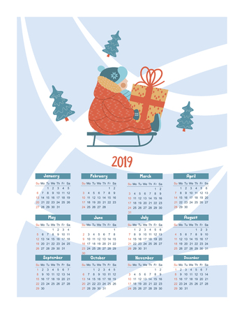 Calendar 2019. Vector illustration. A child riding on a sled in the snow. He's holding a present.