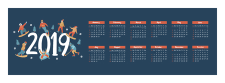 Calendar 2019. Vector illustration. A set of characters engaged in winter sports and recreation. People skate, snowboard, ski. Play ice hockey. Children sledding and snow tubing. Illusztráció
