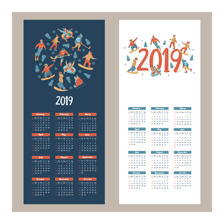 Calendar 2019. Vector illustration. A set of characters engaged in winter sports and recreation. People skate, snowboard, ski. Play ice hockey. Children sledding and snow tubing. Illustration