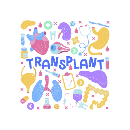 Human organs for surgeries and transplantation. Medicine hand drawn icons. Vector illustration made in cartoon style, colourful design.