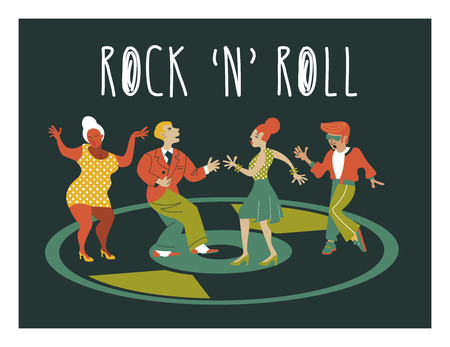 Rock and roll. Retro party. Vector poster. Retro style illustration. Music and dance in retro style. Boys and girls dancing rock and roll.