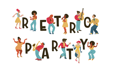 Retro party. Vector poster. Retro style illustration. Music and dance in retro style. Jazz musicians, singers and dancers. Poster for retro party, retro festival.