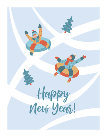 Cute winter new year greeting card, vector illustration. Children ride a snow slide on a tubing. Vecteurs