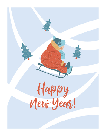 happy New Year. New year's greeting card. Vector illustration. The kid sledding. Vettoriali