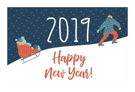 happy New Year. Cute winter new year greeting card, vector illustration. Dad's taking the sledge with his child in the mountain. Illustration