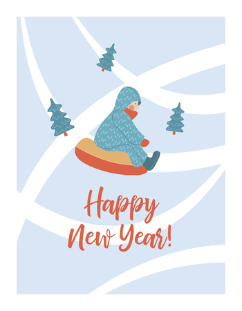 happy New Year. New years greeting card. Vector illustration. Baby rides tubing hills with snow.